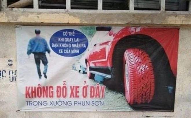"""Tấm biển cảnh báo siêu """"chất"""" của chủ xưởng sơn: Chỉ một câu khiến các tài xế giật mình"""