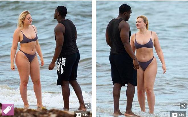 Siêu mẫu ngoại cỡ Iskra Lawrence gợi cảm, tình tứ với bạn trai trên biển