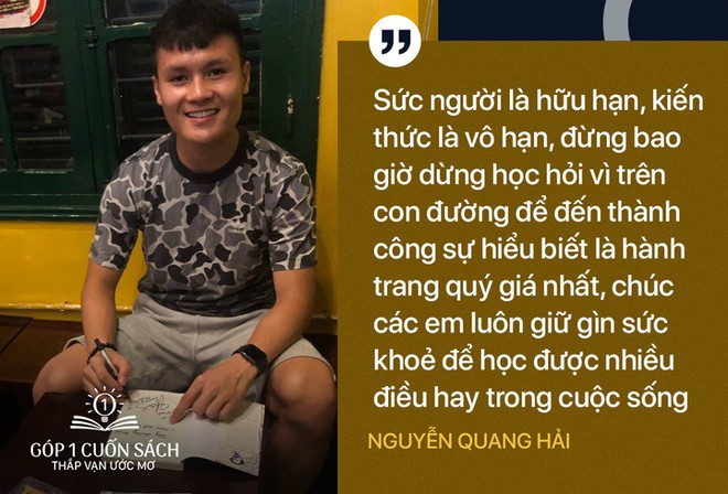 Sách, chữ ký và lời đề tặng ý nghĩa từ hai danh thủ Nguyễn Quang Hải, Đoàn Văn Hậu - Ảnh 2.