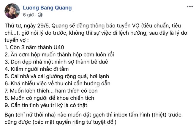 Vẫn ngủ chung với Ngân 98 dù đã chia tay, Lương Bằng Quang lại bất ngờ tuyển vợ, đọc lý do ai cũng choáng  - Ảnh 1.
