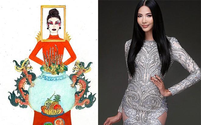 """Sốc trước ý tưởng thiết kế trang phục """"Bàn thờ"""" giúp Hoàng Thùy dự thi Hoa hậu Hoàn vũ thế giới"""