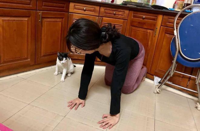 Cô gái đang tập Yoga thì phát hiện loạt phản ứng không ngờ từ chú mèo ngồi bên cạnh - Ảnh 1.