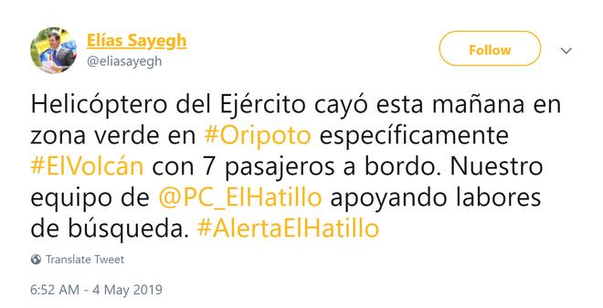 Trực thăng quân sự chở 7 người rơi ở Venezuela, chưa rõ con số thương vong - Ảnh 1.