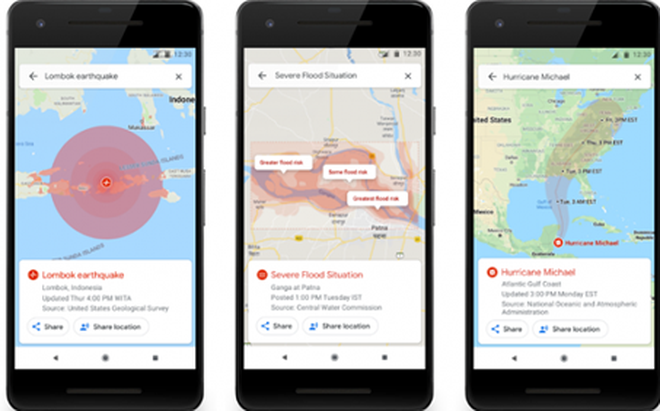 Google Maps cập nhật tính năng cảnh báo thiên tai
