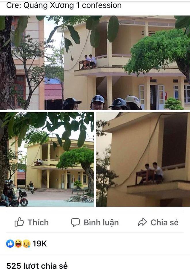 Quá nóng, 2 nam sinh mang bàn ghế ra ngoài lan can để hóng gió học bài - Ảnh 1.