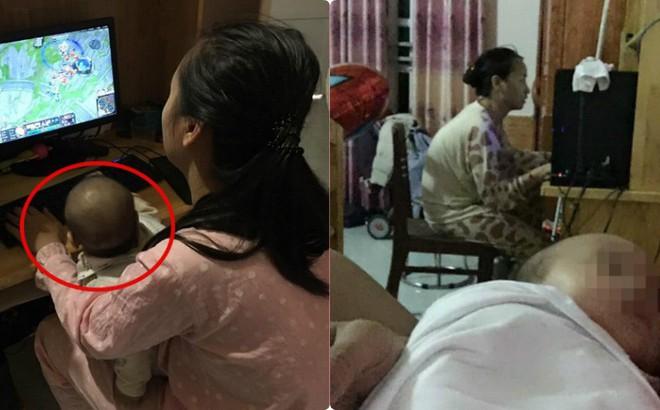 Chồng kêu than vì vợ quá mê chơi game, bức ảnh bế con ngồi máy tính gây bức xúc