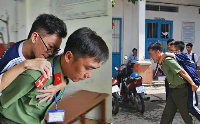 Chiến sĩ công an cõng thí sinh khuyết tật đến phòng thi rồi dọn đồ giúp - hình ảnh gây xúc động mạnh