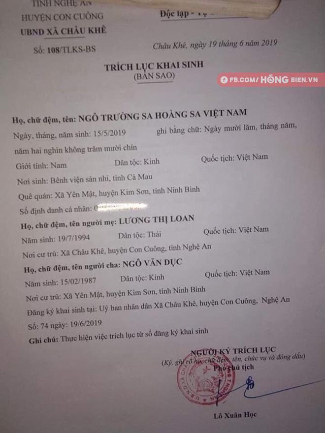 Bé trai có tên hiếm dài 7 chữ: Ngô Trường Sa Hoàng Sa Việt Nam, lý giải của người mẹ gây ấn tượng mạnh - Ảnh 1.