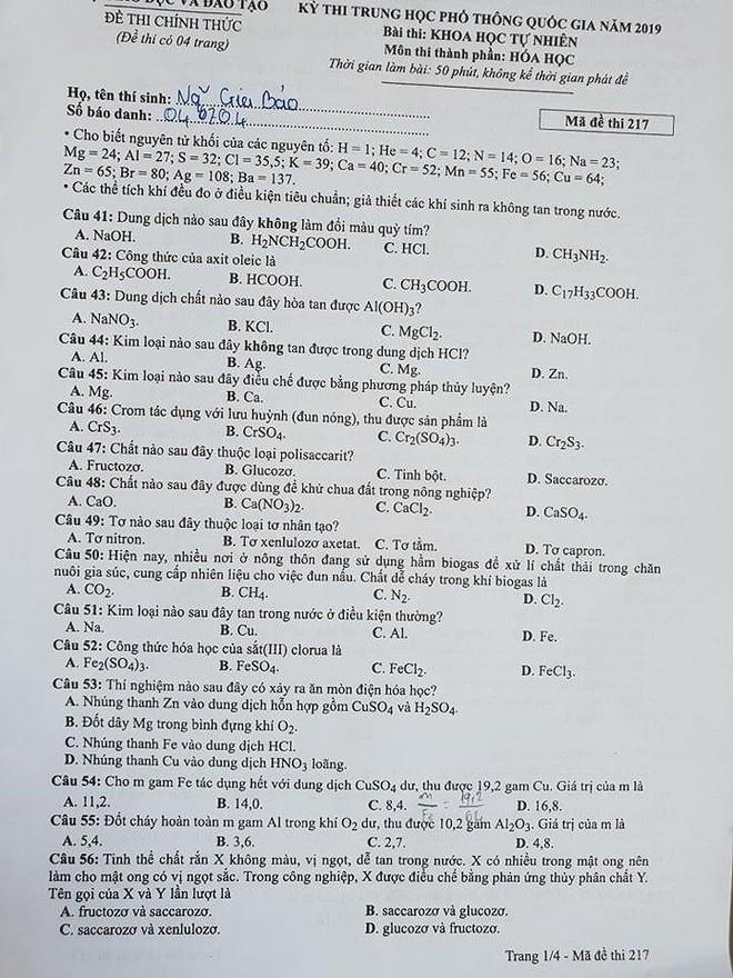 Cập nhật gợi ý đáp án thi môn Hóa học THPT Quốc gia 2019 tất cả các mã đề - Ảnh 6.