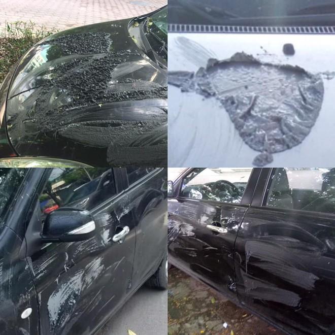 Xôn xao hình ảnh ô tô bị đổ chất lạ và cào nham nhở sau một đêm ở Hà Nội - Ảnh 1.