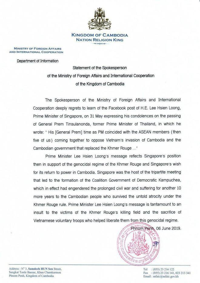 Toàn văn tuyên bố của BNG Campuchia: Phát biểu của ông Lý Hiển Long gợi lại thời kỳ Singapore ủng hộ Khmer Đỏ - Ảnh 1.