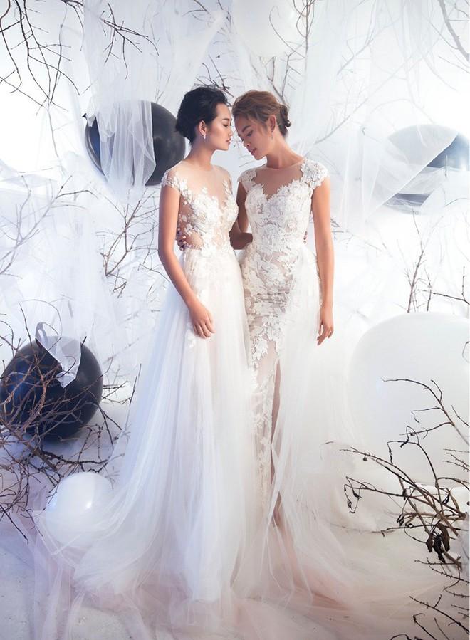 Á quân The Face Quỳnh Anh và Thu Hiền đọ sắc khi mặc váy cưới - Ảnh 3.
