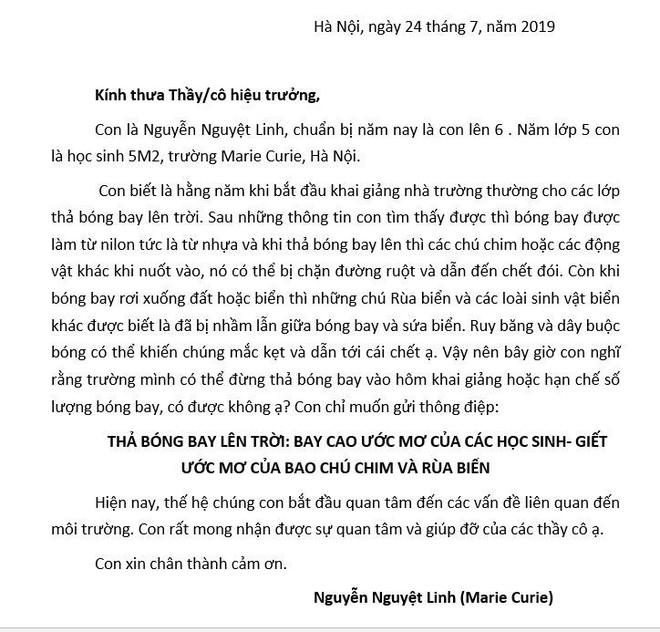 Xúc động bức thư em học sinh lớp 5 gửi tới 40 trường học ở Hà Nội: Mình có thể đừng thả bóng bay vào hôm khai giảng không? - Ảnh 1.