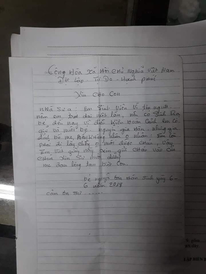 Nữ sinh bỏ con một tuổi ở cổng chùa kèm bức thư: Con còn phải đi lấy chồng - Ảnh 1.