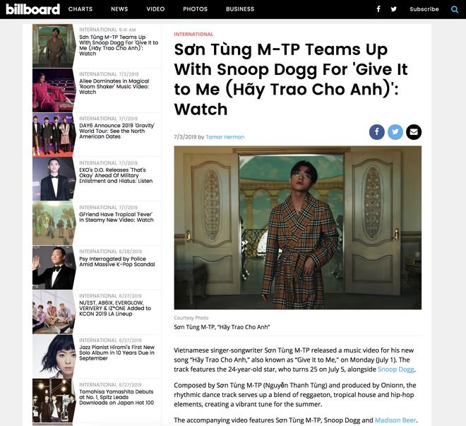 """Trang tin âm nhạc lớn nhất thế giới đăng bài về """"kì tích"""" của Sơn Tùng M-TP - Ảnh 4."""