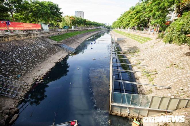 Ảnh: Cận cảnh đáy sông Tô Lịch sau 3 tuần thí điểm công nghệ Nhật Bản phân hủy bùn hữu cơ - Ảnh 1.