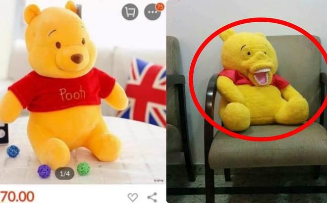 Đặt mua trên mạng đến khi nhận hàng, khách giật mình trước biểu cảm của con gấu bông
