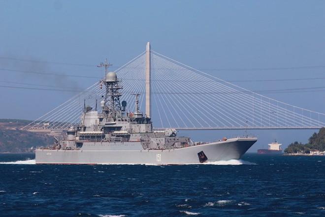 Tàu đổ bộ Nga vận chuyển số lượng lớn xe tăng, xe bọc thép tới Syria - Ảnh 3.