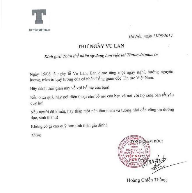 Ấm lòng bức thư cho nhân viên nghỉ ngày lễ Vu Lan - Ảnh 1.
