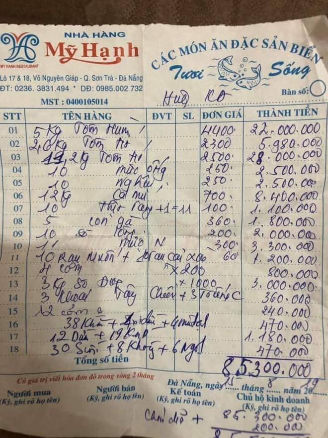 Nhà hàng ở Đà Nẵng nói về hóa đơn bữa ăn hải sản có giá 85 triệu đồng: Họ gọi món sang nhất nên đắt - Ảnh 2.