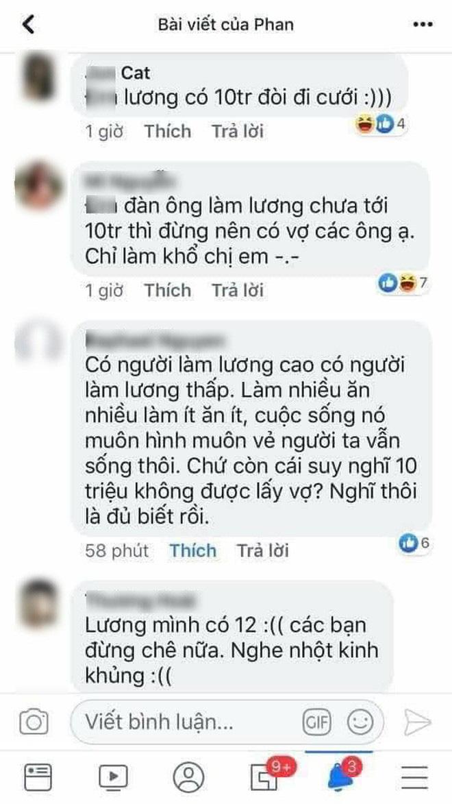 'Đàn ông lương tháng 10 triệu mà đòi cưới vợ?' - câu nói của cô gái gây tranh cãi trên mạng xã hội - ảnh 2