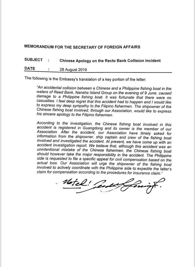 Chủ tàu Trung Quốc đâm chìm tàu Philippines gửi thư xin lỗi sát giờ ông Duterte sang Bắc Kinh - Ảnh 1.