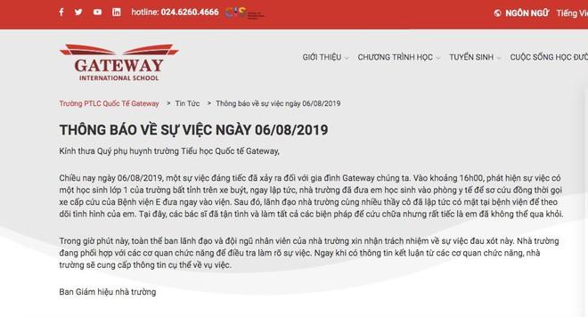 Trường Gateway nửa đêm thay thông báo, gọi vụ bé trai lớp 1 tử vong từ đáng tiếc sang nghiêm trọng - Ảnh 1.