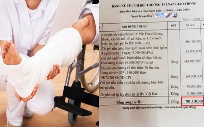 Bảng kê chi phí bồi thường hơn 700 triệu cho cụ ông 73 tuổi bị đâm gãy chân xôn xao MXH