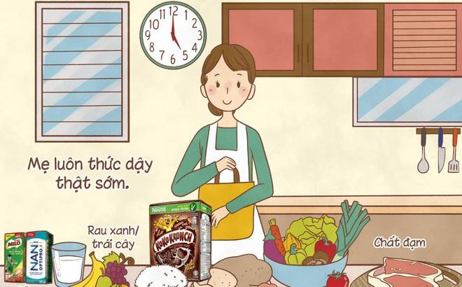 Bữa sáng không chỉ bổ sung dưỡng chất mà còn chứa đựng tình yêu thương của mẹ
