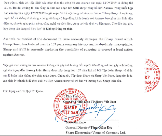 Sharp Việt Nam tuyên bố bằng chứng Asanzo công bố trong họp báo là giả mạo - Ảnh 3.
