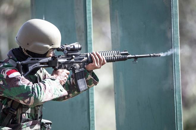 Chiến sĩ gìn giữ hòa bình Việt Nam huấn luyện sử dụng súng trường Pindad SS2 tối tân - Ảnh 11.