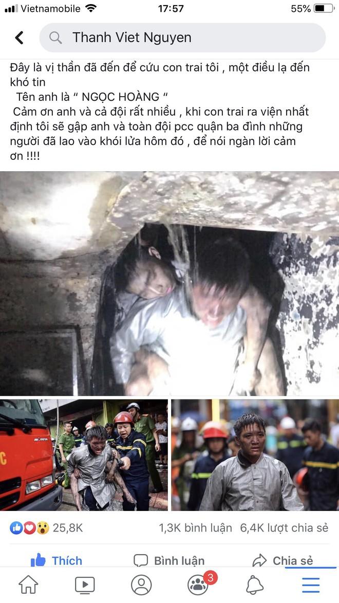 Lời cảm ơn của ông bố gửi chiến sỹ cảnh sát PCCC dũng cảm lao vào đám cháy cứu con trai mình - Ảnh 1.