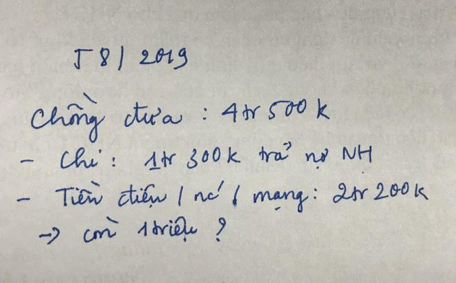 Chồng đầu tháng đưa vợ 4,5 triệu, cuối tháng lại đòi 1 triệu, bảng kê khai từng khoản khiến tất cả ngao ngán