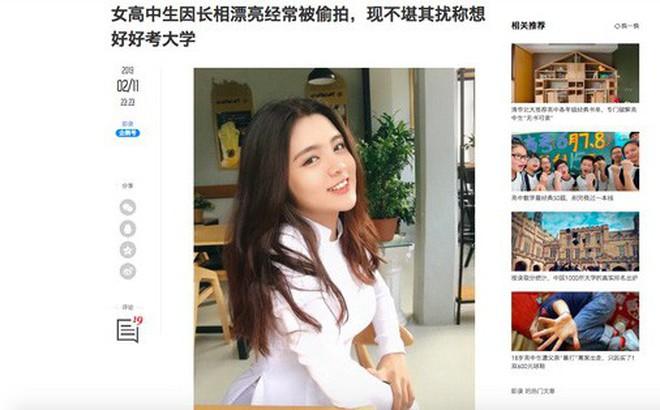 Báo Trung phát sốt về một nữ sinh Việt mặc áo dài, khen ngợi nhan sắc xinh đẹp đủ tầm tham gia showbiz