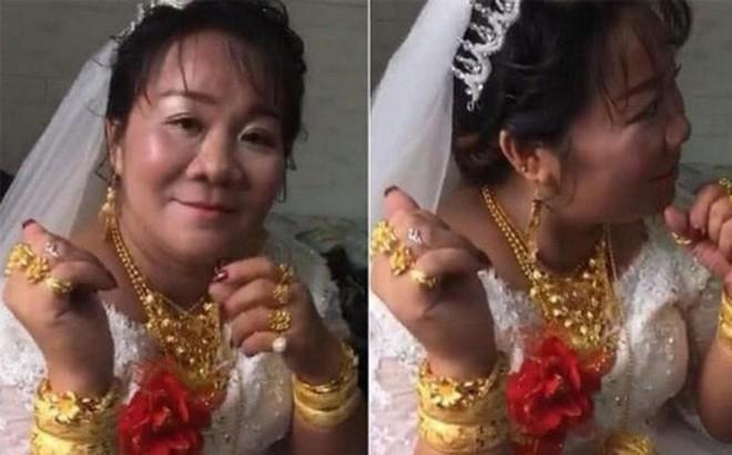 Cô dâu hạnh phúc đeo vàng trĩu cổ trong ngày cưới, nhìn sang chú rể còn bất ngờ hơn