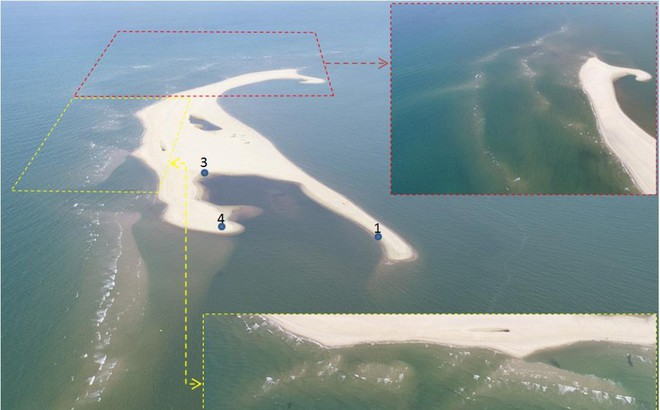 Cồn cát khổng lồ nổi lên bất thường giữa biển Cửa Đại nhìn từ flycam