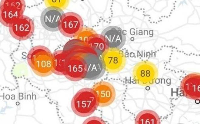"""Bất thường cả miền Bắc: Chỉ số cảnh báo ô nhiễm không khí """"đỏ rực"""""""