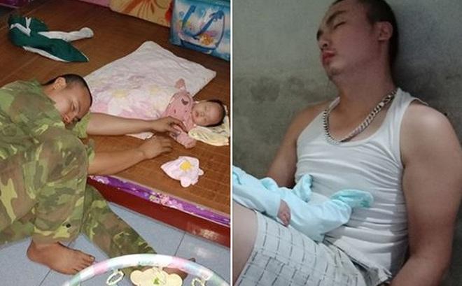"""Anh chồng ngủ gục vì quá mệt khi thức chăm con cho vợ nghỉ ngơi khiến chị em ghen tị vì """"của hiếm"""" không phải ai cũng có"""