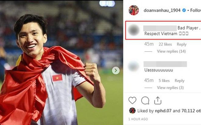 Đăng ảnh ăn mừng chiến thắng trên Instagram, Đoàn Văn Hậu bị cổ động viên Indonesia tràn vào bình luận miệt thị, xúc phạm nặng nề