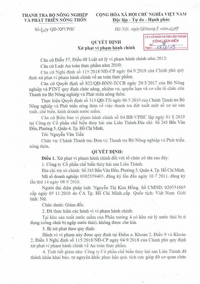 Chánh Thanh tra Bộ NN&PTNT: Cty Liên Thành không dùng Soda công nghiệp sản xuất nước mắm - Ảnh 1.