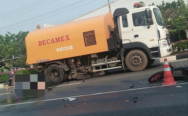 Xe máy chưa có biển số tông xe quét đường, 1 người chết, 1 người nguy kịch