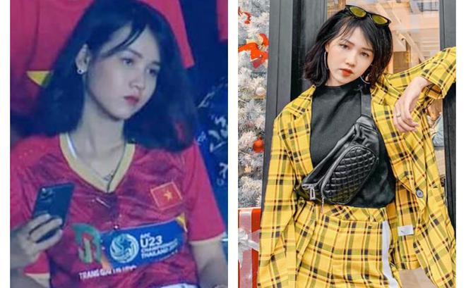 """Xuất hiện trên khán đài xem U23 Việt Nam, biểu cảm của cô gái khiến dân mạng """"truy tìm"""""""