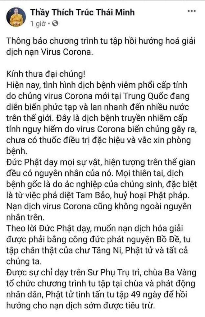 Đã gỡ hình ảnh chương trình giải dịch cúm virus corona của trụ trì chùa Ba Vàng - Ảnh 2.
