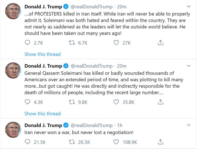 TT Trump đăng bình luận đầu tiên sau khi Tướng Soleimani bị sát hại, đá xoáy Iran cực gắt - Ảnh 1.