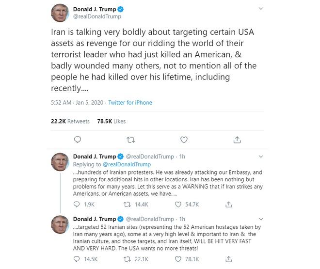 Tổng thống Trump đe dọa tấn công 52 địa điểm nếu Iran trả đũa vụ sát hại Tướng Soleimani - Ảnh 1.