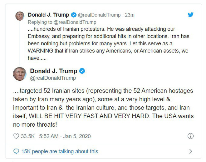3 lựa chọn của TT Trump trước vụ tấn công tên lửa: 52 mục tiêu ở Iran có thể bị hủy diệt? - Ảnh 1.
