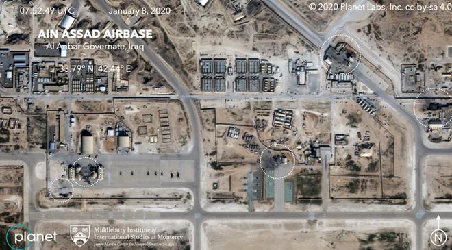Ảnh vệ tinh hé lộ thiệt hại trong căn cứ Mỹ bị Iran giội tên lửa - Ảnh 1.