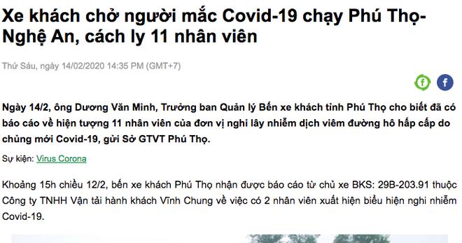 Vụ hành khách nhiễm virus Corona đi xe khách Phú Thọ - Nghệ An: Xét nghiệm lần 1 âm tính - Ảnh 2.