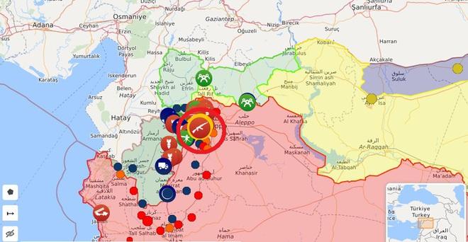Chiến đấu cơ Su-34 Nga dồn dập oanh kích sát biên giới Thổ - Xe tăng QĐ Syria lộn cổ ngay đường cao tốc M5 vừa thông - Ảnh 1.