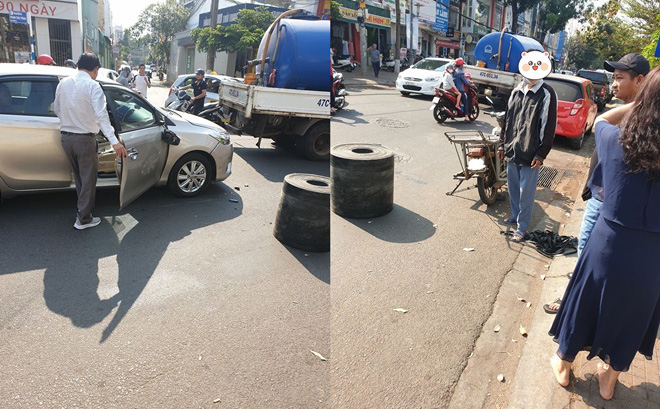 Bị xe máy đâm móp ô tô, vỡ gương, cặp vợ chồng vừa xuống xe đã có hành xử đáng nể